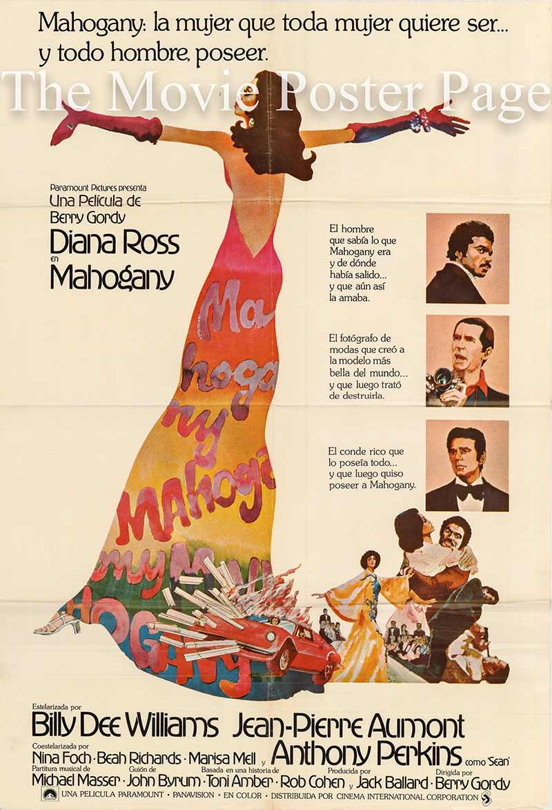 Pictured is a Spanish one-sheet poster for the 1975 Berry Gordy film Mahogany starring Diana Ross as Tracy Chambers.