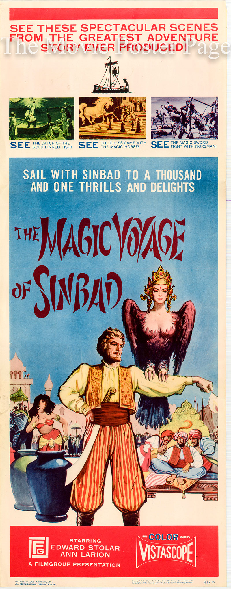 Pictured is a US insert poster for the 1961 Aleksandr Ptushko film The Magic Voyage of Sinbad starring Edward Stolar.