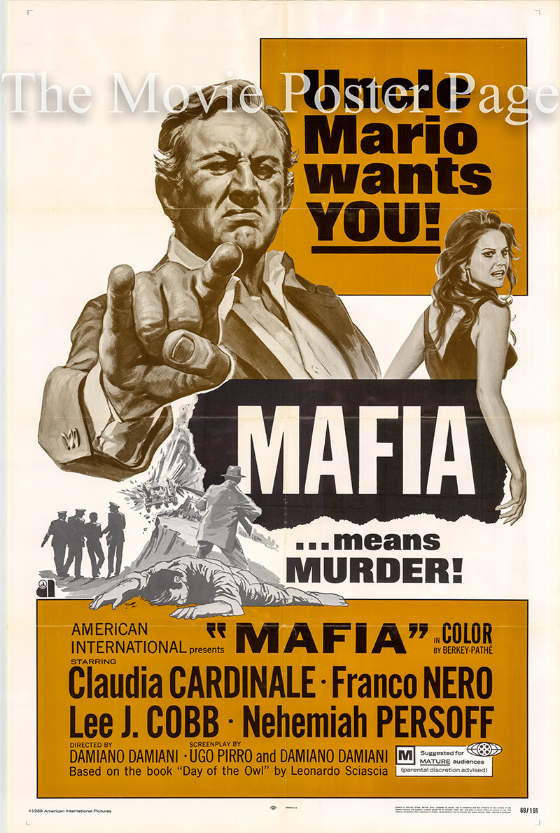 Pictured is a US one-sheet promotional poster for the 1969 Damiano Damiani film Mafia starring Claudia Cardinale.
