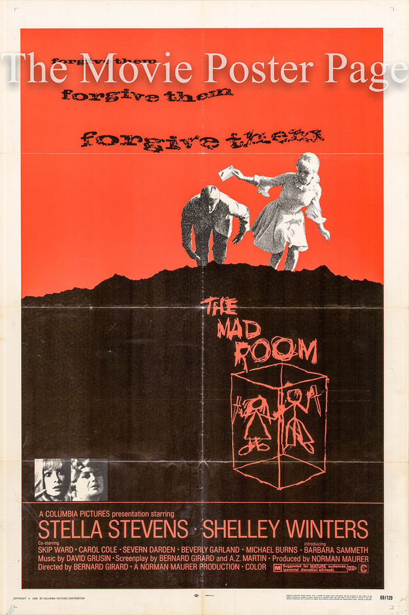 Pictured is a US one-sheet poster for the 1969 Bernard Girard film The Mad Room starring Stella Stevens.