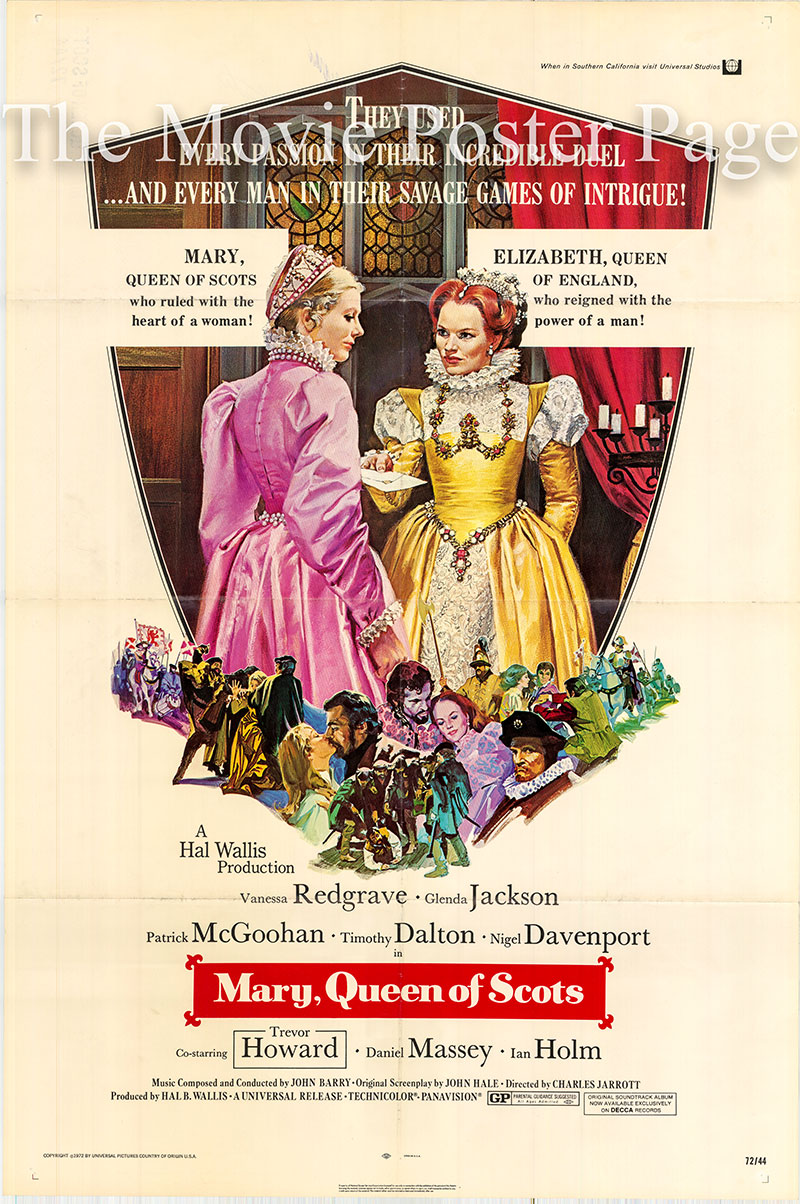 Pictured is a US one-sheet poster for the 1972 Charles Jarrott film Mary Queen of Scots starring Vanessa Redgrave as Mary.