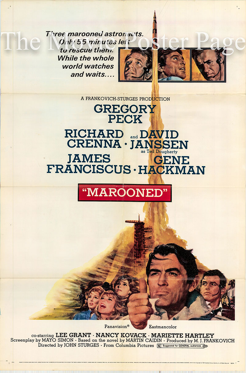 Pictured is a US one-sheet poster for the 1969 John Sturges film Marooned starring Gregory Peck.