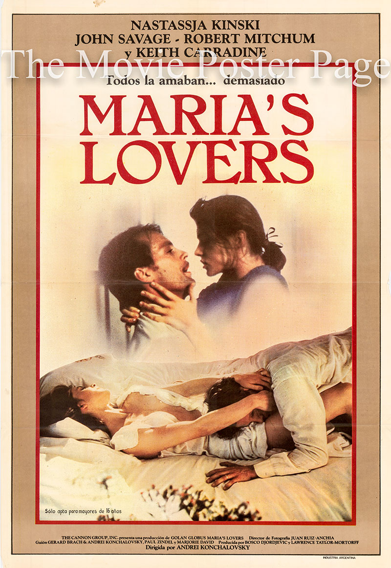 Pictured is an Argentine poster for the 1984 Andre Konchalovsky film Maria's Lovers starring Nastassja Kinsky as Maria Bosic.