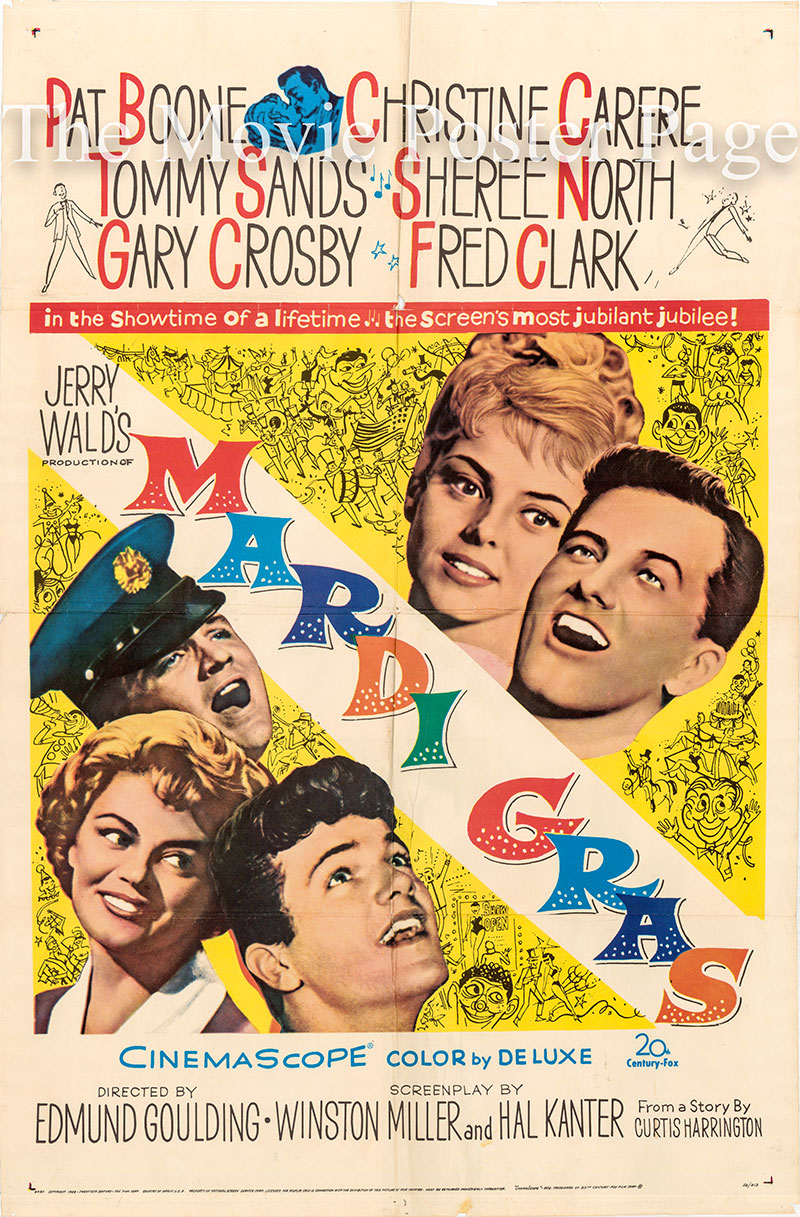 Pictured is a US one-sheet poster for the 1958 Edmund Goulding film Mardi Gras starring Pat Boone as Paul Newell