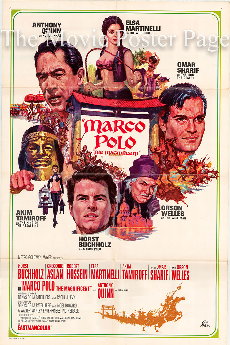 Pictured is a US one-sheet poster for the 1965 Denys de la Patelliere and Raoul J. Levy film Marco Polo the Magnificent starring Anthony Quinn.
