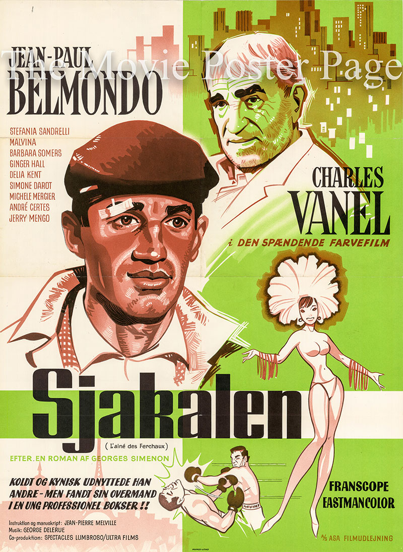 Pictured is a Danish one-sheet poster for the 1963 Jean-Pierre Melville film Magnet of Doom starring Jean-Paul Belmondo as Michel Maudet.