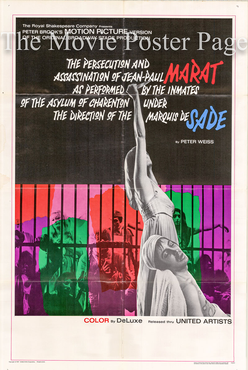 Pictured is a US one-sheet poster for the 1967 Peter Brook film Marat/Sade starring Matrick McGee as the Marquis de Sade.