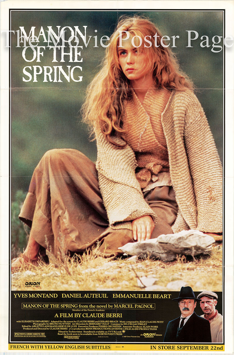 Pictured is a US video poster for the 1986 Claude Berri film Manon of the Spring starring Yves Montand as Cesar Soubeyran.