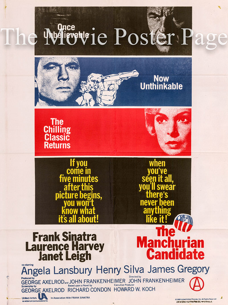 Pictured is an Indian one-sheet poster for a 1968 rerelease of the 1962 John Frankenheimer film The Manchurian Candidate starring Frank Sinatra.