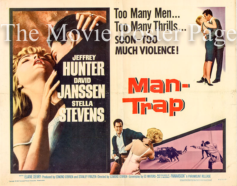 Pictured is a US half-sheet poster for the 1961 Edmund O'Brien film Man Trap starring Jeffrey Hunter.