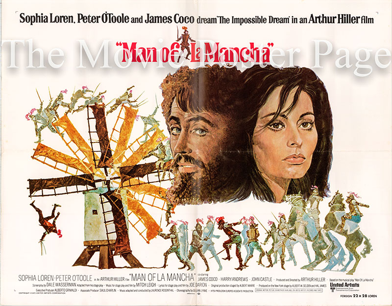 Pictured is a US half-sheet promotional poster for the 1972 Arthur Hiller film The Man of La Mancha starring Peter O'Toole and Sophia Loren.