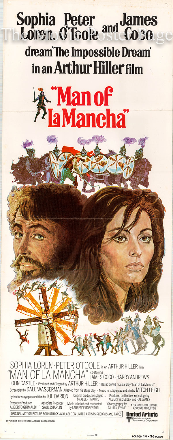 Pictured is a US insert promotional poster for the 1972 Arthur Hiller film The Man of La Mancha starring Peter O'Toole as Don Quixote.