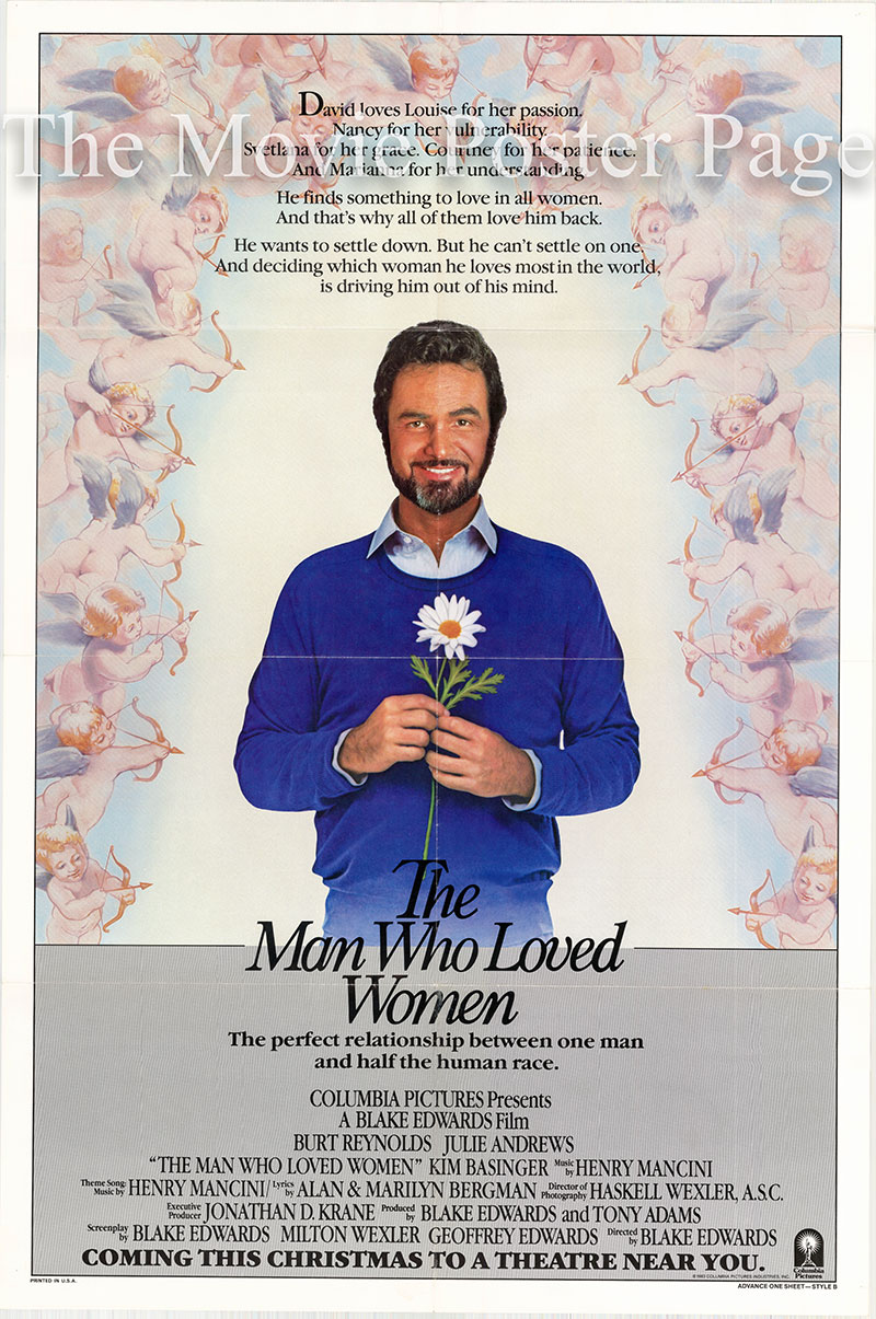 Pictured is a US one-sheet for the 1983 Blake Edwards film The Man Who Loved Women starring Burt Reynolds.