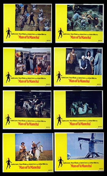 Pictured is an international promotional lobby card set for the 1972 Arthur Hiller film The Man of La Mancha starring Peter O'Toole and Sophia Loren.