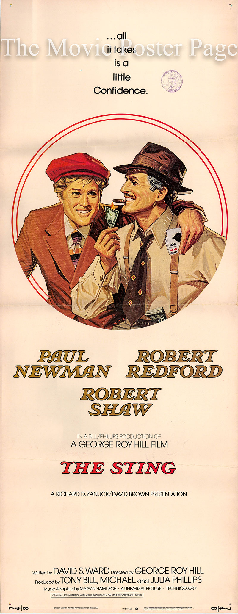 Pictured is a US insert promotional poster for the 1974 George Roy Hill film The Sting starring Paul Newman as Henry Gondorff.