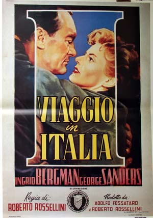 Pictured is a reprint of an Italian promotional poster for the 1954 Roberto Rosselini film Viaggio in Italia starring Ingrid Bergman and George Sanders.
