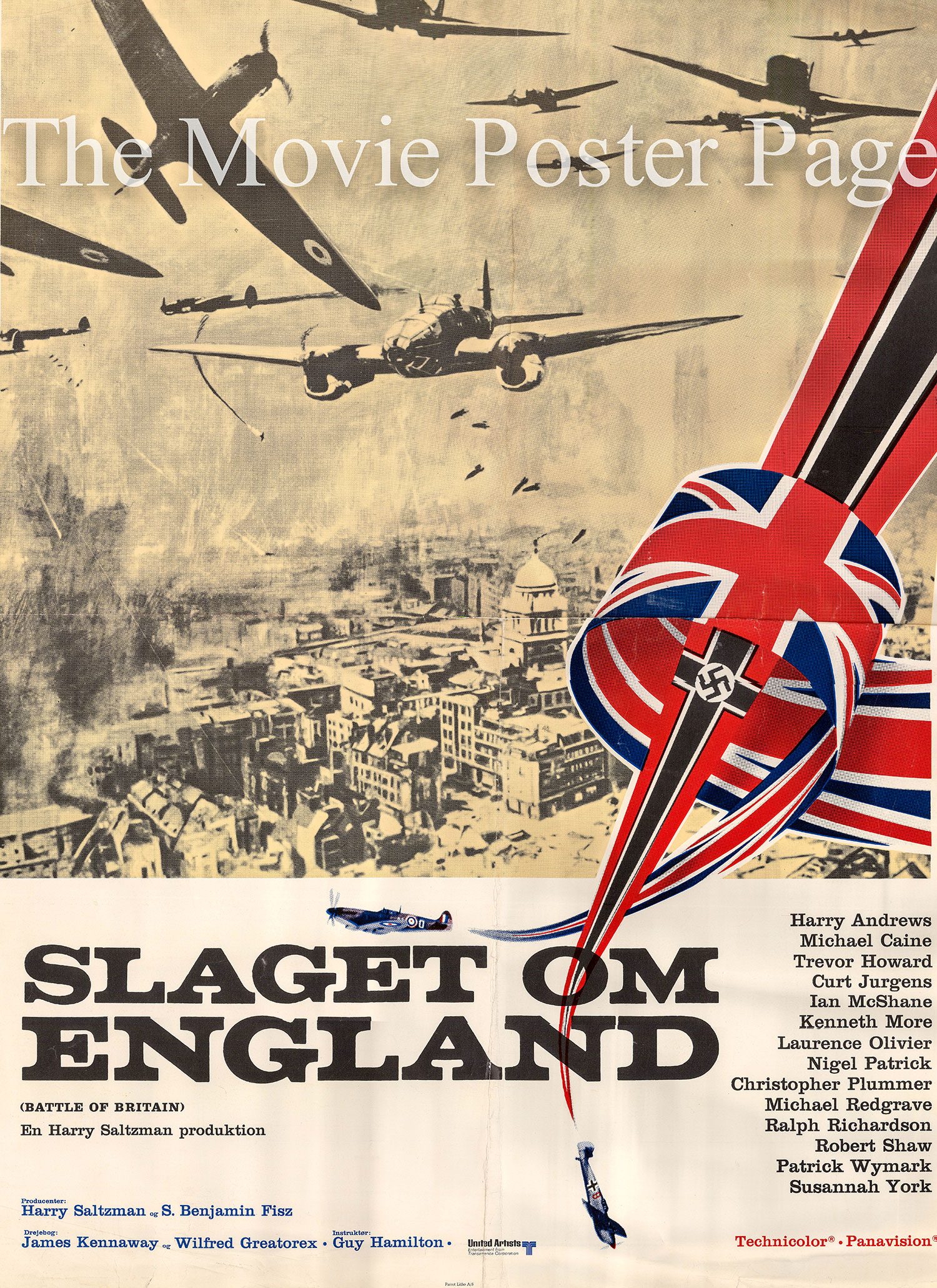 Pictured is a Danish promotional poster for the 1969 Guy Hamilton film Battle of Britain starring Michael Caine.