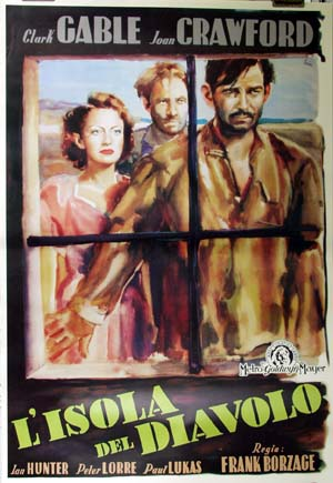 Pictured is a reprint of an Italian promotional poster for the 1940 Victor Borzage film Strange Cargo starring Clark Gable and Joan Crawford.