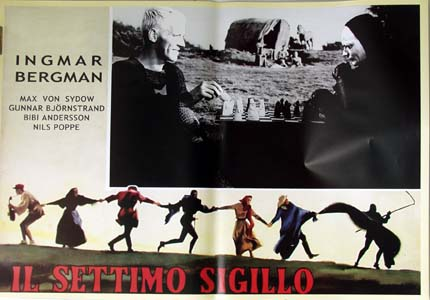 Pictured is a reprint of an Italian promotional poster for the 1957 Ingmar Bergman film the Seventh Seal starring Max von Sydow and Bibi Andersson.