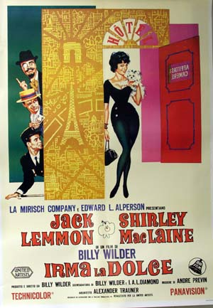 Pictured is a reprint of an Italian promotional poster for the 1963 Billy Wilder film Irma la Douce starring Jack Lemmon and Shirley MacLaine.