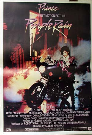 Pictured is an Italian reprint of a promotional poster for the 1984 Albert Magnoli film Purple Rain starring Prince.