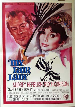 Pictured is an Italian reprint of a promotional poster for the 1964 Georg Cukor film My Fair Lady starring Audrey Hepburn and Rex Harrison.
