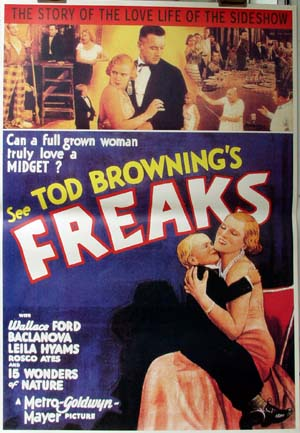 Pictured is an Italian reprint of a promotional poster for the 1932 Todd Browning film Freaks starring Wallace Ford.