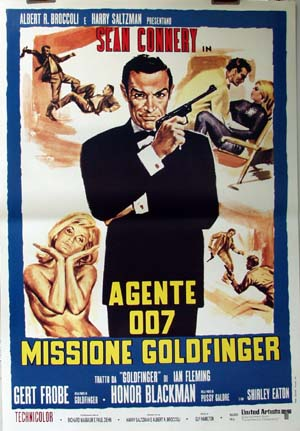 PIctured is a reprint of an Italian promotional poster for the 1964 Guy Hamilton film Goldfinger starring Sean Connery.