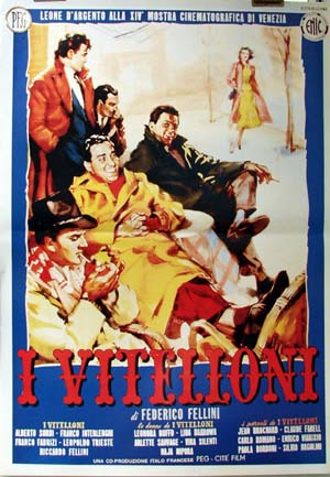 Pictured is a reprint of an Italian promotional poster for the 1953 Federico Fellini film I Vitelloni, starring Franco Interlenghi.