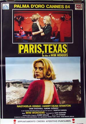 Pictured is a reprint of an Italian promotional poster for the 1984 Wim Wenders film Paris, Texas starring Nastassja Jinski and Harry Dean Stanton.