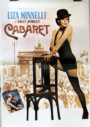 Pictured is a reprint of an Italian promotional poster for the 1972 Bob Fosse film Cabaret starring Liza Minelli.