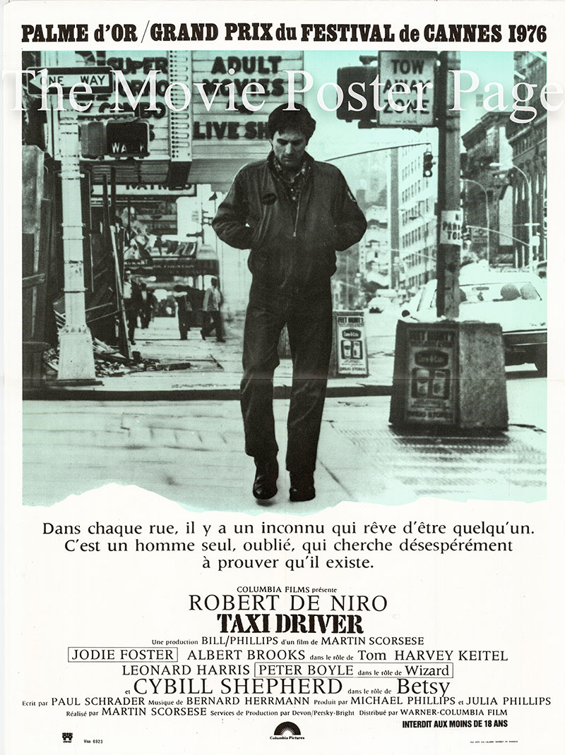 Pictured is a French mini poster for the 169 Martin Scorsese film Taxi Driver starring Robert De Niro as Travis.