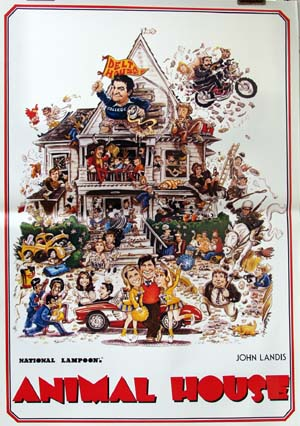 Pictured is an Italian reprint of a promotional poster for the 1978 John Landis film Animal House starring John Belushi.
