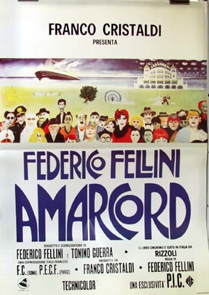 Pictured is a reprint of an Italian promotional poster for the 1973 Federico Fellini film Amarcord.