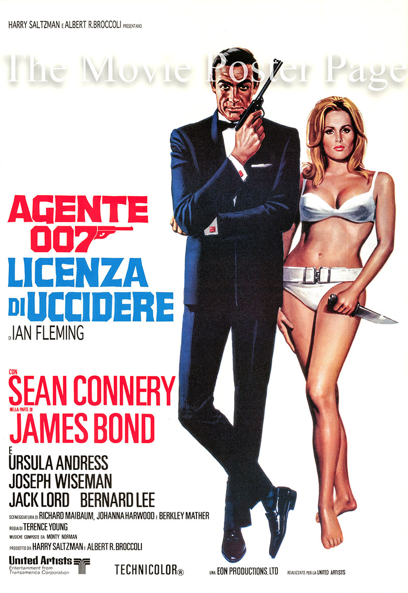 Pictured is a reprint of an Italian promotional poster for the 1962 Terence Young film Dr. No starring Sean Connery and Ursula Andress.
