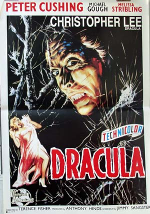 Pictured is a reprint of an Italian promotional poster for the 1958 Terence Fisher film Dracula starring Christopher Lee.