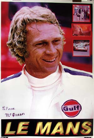 Pictured is an Italian reprint of a promotional poster for the 1971 Lee H. Katzin film Le Mans starring Steve McQueen.