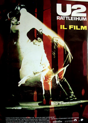 Pictured is an Italian reprint of a promotional poster for the 1988 Phil Joanou film U2: Rattle and Hum starring U2.