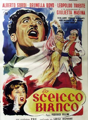 Pictured is a reprint of an Italian promotional poster for the 1952 Federico Fellini film the White Sheik starring Alberto Sordi as the White Sheik.