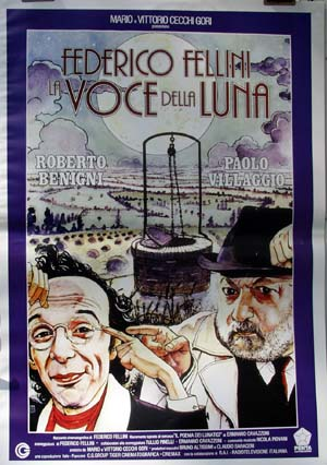 Pictured is a reprint of an Italian promotional poster for the 1990 Federico Fellini film Voce della Luna starring Roberto Benigni.