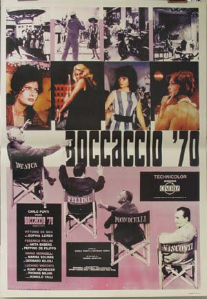 Pictured is a reprint of an Italian promotional poster for the 1962 Vittorio De Sica flim Boccacio 70 starring Marisa Solinas.