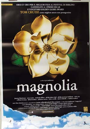 Pictured is an Italian reprint of a US promotional poster for the 1999 Paul Thomas Anderson film Magnolia starring Tom Cruise.
