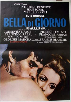 Pictured is a reprint of an Italian promotional poster for the 1967 Luis Bunel film Belle de Jour starring Cahterine Deneuve.