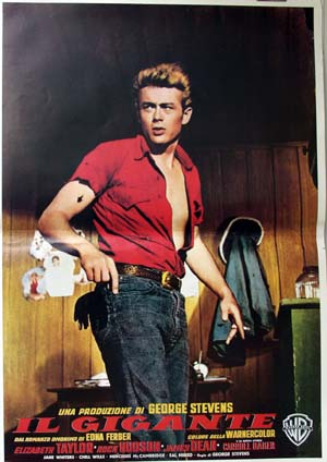 Pictured is a reprint of an Italian promotinal poster for the 1956 George Stevens film Giant starring James Dean, Rock Hudson and Elizabeth Taylor.