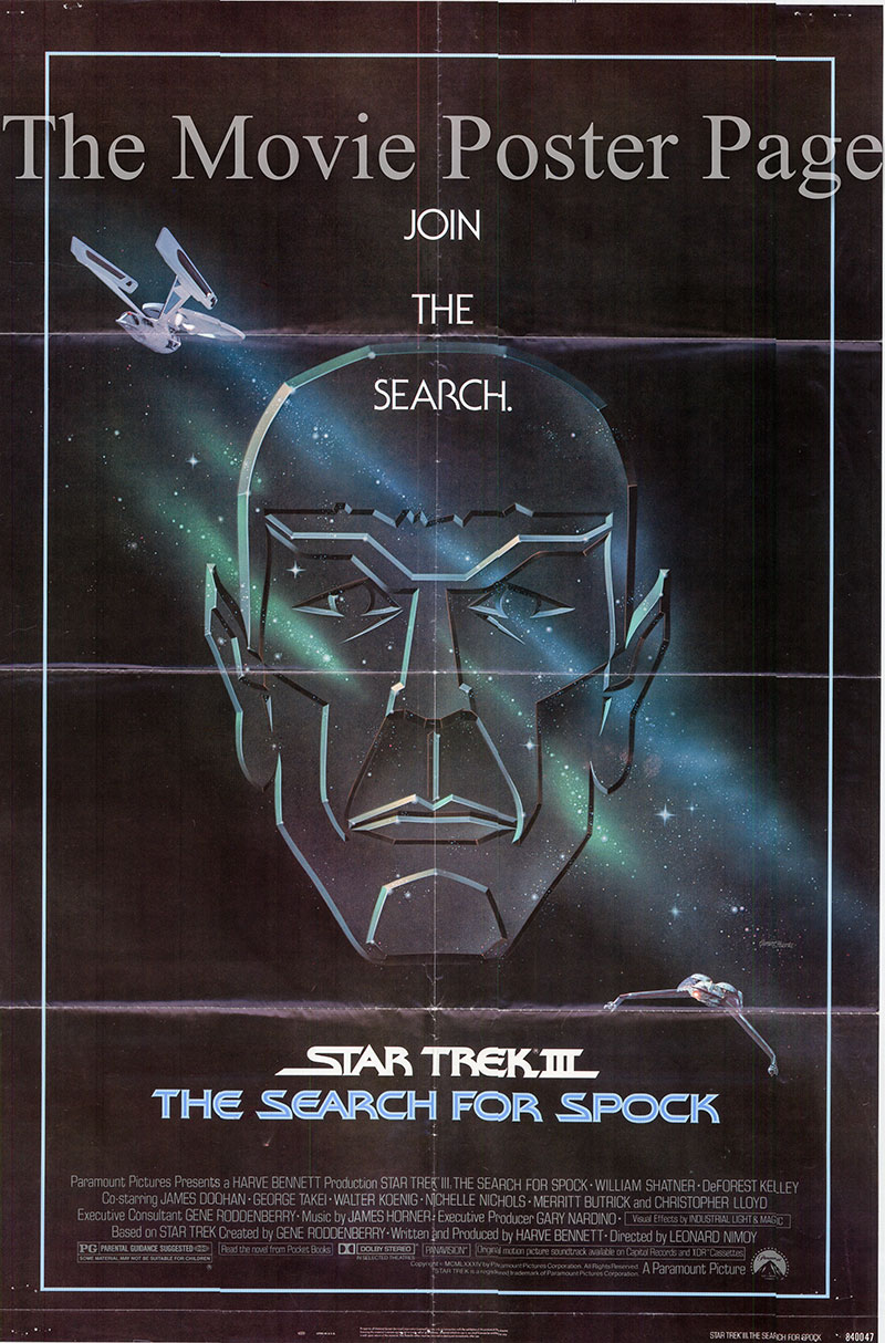 Pictured is a US one-sheet poster for the 1984 Leonard Nimoy film Star Trek III: The Search for Spock starring William Shatner as Kirk.