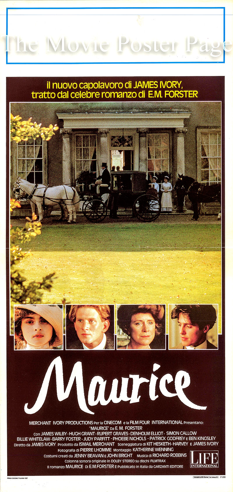 Pictured is a locandina poster fo reh 1987 Merchant Ivory film Maurice starring Hugh Grant as Clive Durham.