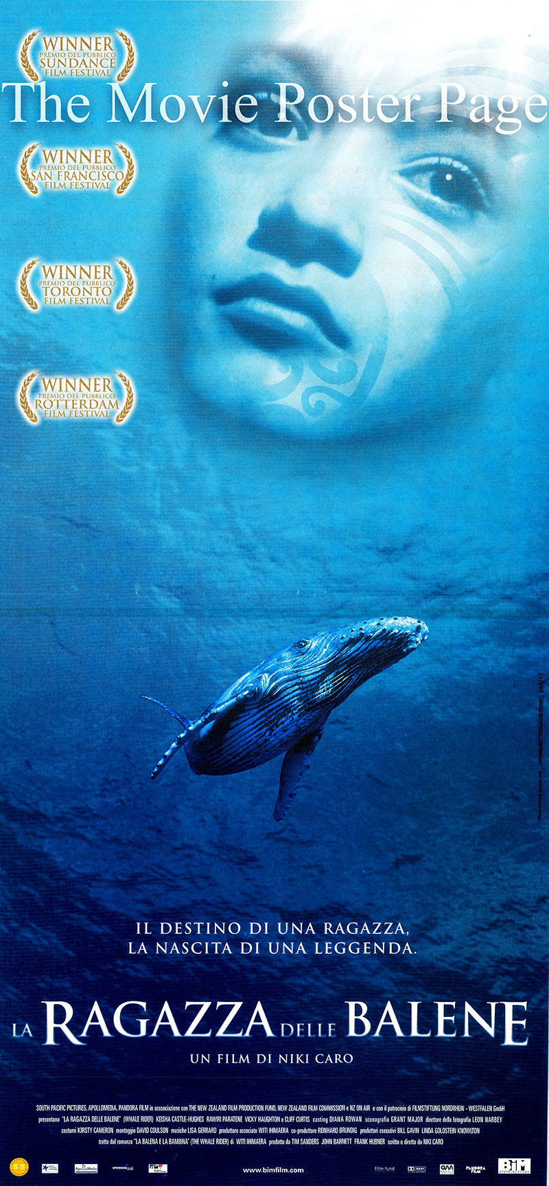 Pictured is an Italian locandina poster for the 2002 Niki Caro film Whale Rider starring Keisha Castle-Hughes as Paikea.