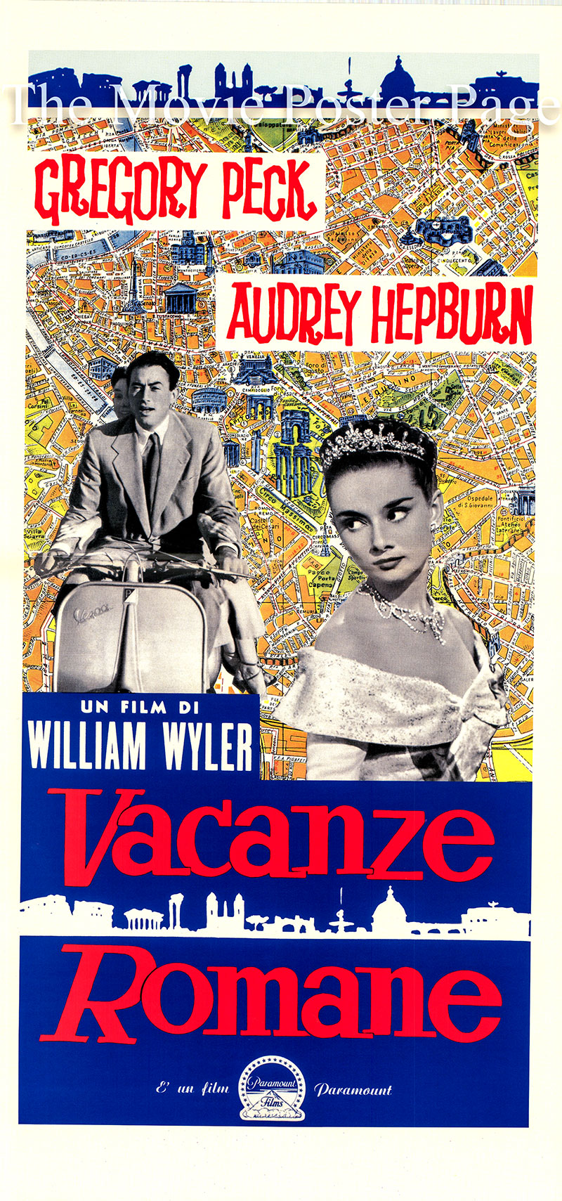 Pictured is an Italian locandina promotional poster for a 1990s rerelease of the 1953 William Wyler film Roman Holiday starring Audrey Hepburn and Gregory Peck.