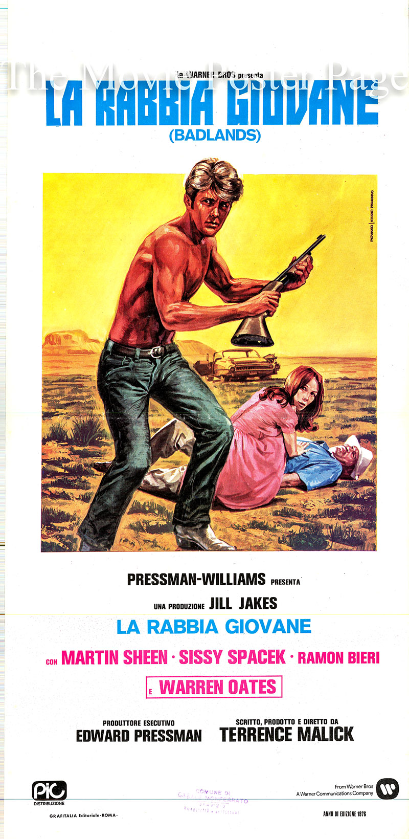Pictured is an Italian locandina promotional poster for the 1973 Terrence Malick film Badlands starring Martin Sheen as Kit Carruthers.
