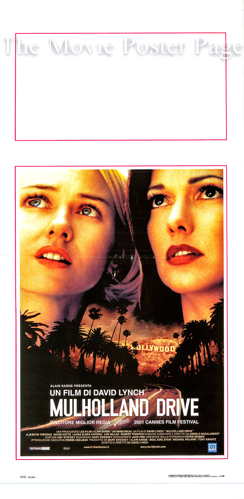 Pictured is an Italian locandina poster for the 2001 David Lynch film Mulholland Drive starring Naomi Watts as Betty.